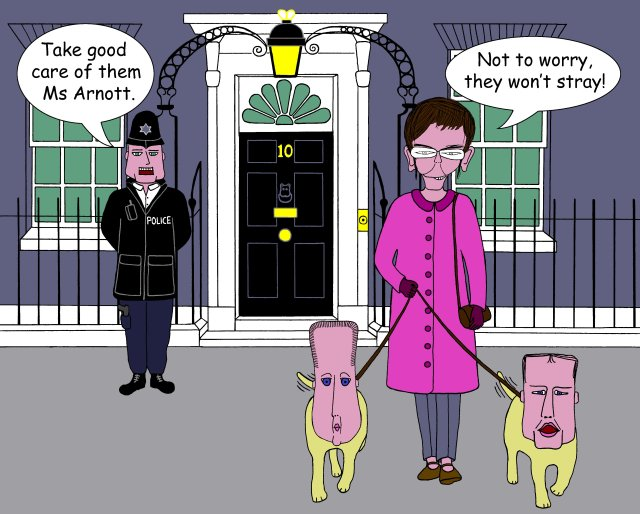 Downing Street Dog Walkies Cartoon