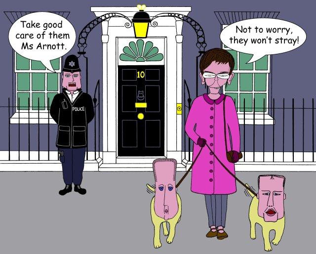Downing Street Dog Walkies Cartoon