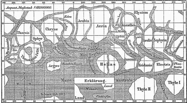 Sciaparelli's map of Martian canals